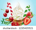 ice cream cone with berry ... | Shutterstock .eps vector #1235435521