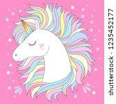vector unicorn head. cute white ... | Shutterstock .eps vector #1235452177