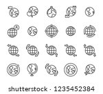 set of world map vector line... | Shutterstock .eps vector #1235452384