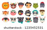 cute animal faces. hand drawn...   Shutterstock .eps vector #1235452531