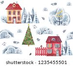 christmas village with elegant... | Shutterstock . vector #1235455501