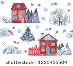 watercolor pattern on a white... | Shutterstock . vector #1235455504