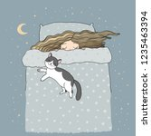 girl and cats. good night.... | Shutterstock .eps vector #1235463394
