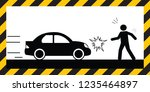 warning sign car crash...   Shutterstock .eps vector #1235464897
