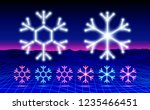christmas neon snowflake icon... | Shutterstock .eps vector #1235466451