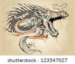 dragon doodle sketch tattoo... | Shutterstock .eps vector #123547027