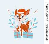 smiling deer. christmas deer... | Shutterstock .eps vector #1235474257
