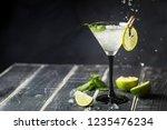 fresh classic lime margarita...   Shutterstock . vector #1235476234
