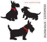 Stock vector set of of scottish terrier dogs silhouettes 123549034