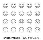 set of emoji vector line icons  ... | Shutterstock .eps vector #1235492371
