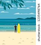 sport fun on sea beach. leisure ... | Shutterstock .eps vector #1235498764