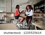 attractive african american two ... | Shutterstock . vector #1235525614