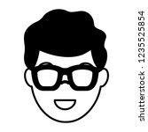 smiling man face on white... | Shutterstock .eps vector #1235525854
