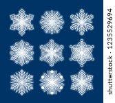 set of white snowflakes... | Shutterstock .eps vector #1235529694