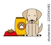 domestic dog with food | Shutterstock .eps vector #1235541481