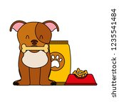 domestic dog with food | Shutterstock .eps vector #1235541484