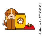 domestic dog with food | Shutterstock .eps vector #1235541511