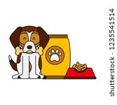 domestic dog with food | Shutterstock .eps vector #1235541514