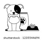 domestic dog with food | Shutterstock .eps vector #1235544694