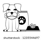 domestic dog with food | Shutterstock .eps vector #1235544697