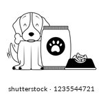 domestic dog with food | Shutterstock .eps vector #1235544721