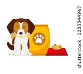 domestic dog with food | Shutterstock .eps vector #1235544967