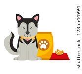 domestic dog with food | Shutterstock .eps vector #1235544994