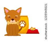 domestic dog with food | Shutterstock .eps vector #1235545021