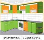 vector illustration of kitchen... | Shutterstock .eps vector #1235563441