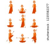 buddhist monks cartoon... | Shutterstock .eps vector #1235582377