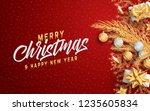 merry christmas layout social... | Shutterstock .eps vector #1235605834