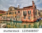 historical houses on a canal... | Shutterstock . vector #1235608507