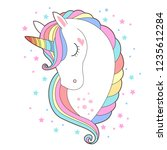 white unicorn head vector... | Shutterstock .eps vector #1235612284