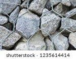 gabion protective wall | Shutterstock . vector #1235614414