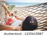 summer vacations concept  happy ... | Shutterstock . vector #1235615887