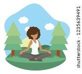 young woman exercising cartoon | Shutterstock .eps vector #1235639491