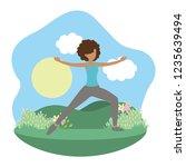 young woman exercising cartoon | Shutterstock .eps vector #1235639494