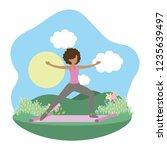 young woman exercising cartoon | Shutterstock .eps vector #1235639497