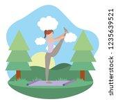 young woman exercising cartoon | Shutterstock .eps vector #1235639521