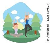 young women exercising cartoon | Shutterstock .eps vector #1235639524