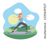 young woman exercising cartoon | Shutterstock .eps vector #1235639527