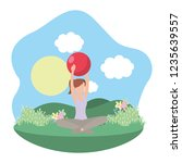 young woman exercising cartoon | Shutterstock .eps vector #1235639557