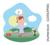 young woman exercising cartoon | Shutterstock .eps vector #1235639581