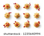 gold paper cut flowers with red ... | Shutterstock .eps vector #1235640994