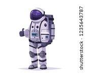 cosmonaut character. thumb up.... | Shutterstock .eps vector #1235643787