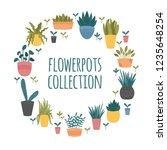 flowerpots collection. set of... | Shutterstock .eps vector #1235648254