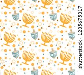 seamless pattern with hanukkah... | Shutterstock .eps vector #1235675317