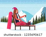 woman relaxing on lounge chair... | Shutterstock .eps vector #1235690617