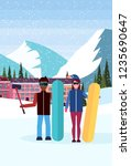 mix race snowboarders couple... | Shutterstock .eps vector #1235690647