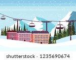 ski resort hotel houses... | Shutterstock .eps vector #1235690674